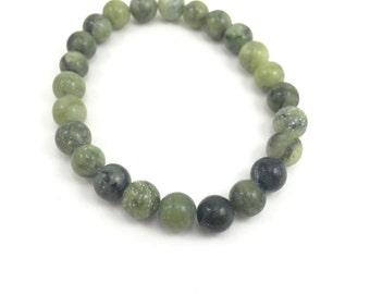 LAST CHANCE Jungle Jasper Bracelet; Green Gemstone Bracelet; Earth Tone Gemstone Bracelet; Green Bracelet