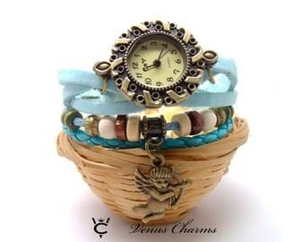 Vintage Wrap Leather Watch  Ladies Wrist Watch Cupid