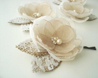 Rustic Fall Wedding Hair Bridal Flower Clip, Hair Accessories Flower Girl , Lace  Burlap Wedding Headpiece Small Pearl Rhinestone
