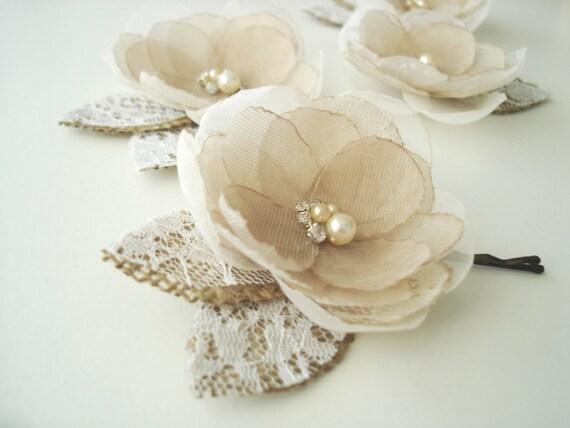 Rustic Fall Wedding Hair Bridal Flower Clip Hair Accessories