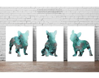 French Bulldog Decor Set of 3 Art Prints, Teal Wall Painting Frenchie Poster, Turquoise Abstract Dog Silhouette, Green and Grey Illustration