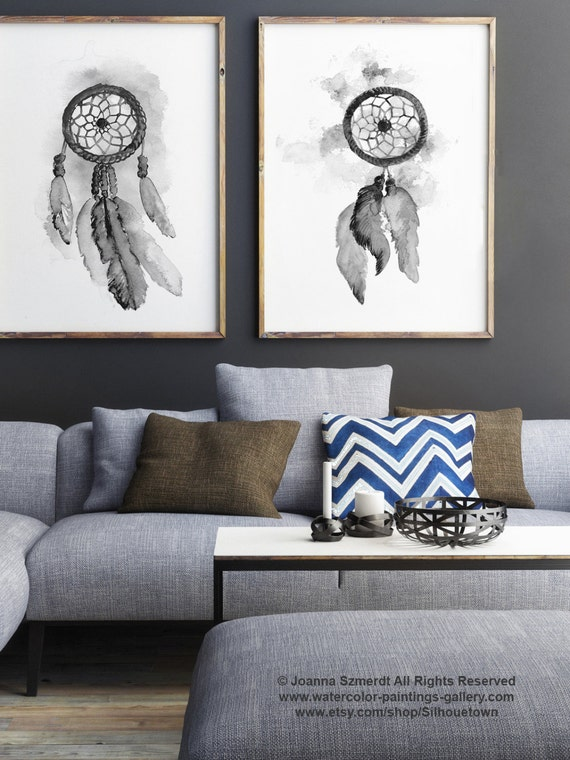 Dream Catcher Set 2 Art Prints Grey Watercolour Illustration