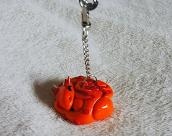 Sleeping Orange Clay Dragon Keychain