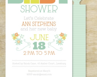 Custom BABY Shower Invitation  | Personalized Die Cut Baby Shower Party Invitation | Custom Invite for a Baby Shower Party