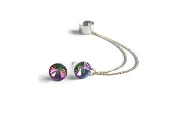 Crystal Stud Ear Cuff Earrings, Sterling silver earrings