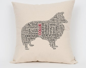 """Collie 16"""" Pillow / Choose Your Colors! / Insert Included / Dog Breed Pillow, Dog Lover Gift, Pet Pillow, Dog Art, Dog Mom, Pet Lover"""