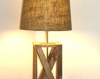 Rustic Geometric Lamp, Rustic Wooden Lamp, Handmade Wood Lamp, Rustic X Design Table Lamp, Geometric Wood Lamp, Hand Crafted Lighting Lamp