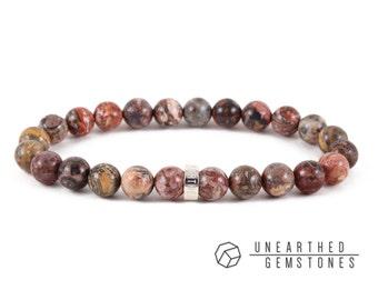 Leopardskin Jasper Bracelet - Mens Jewelry, For Men, Leopard Skin Jasper, Men Bracelet, Brown Bracelet, Leopard Jasper