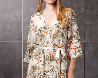 Floral Kimono Robe/ Bridal Dressing Gown/ Silky Robe Cream Kimono Dressing Gown Semi Sheer Bridal Party Robes Honeymoon Lingerie UK Next Day