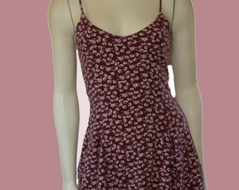 90's Vintage Betsey Johnson Oxblood Floral Knit Fit and Flare Open Back Skater Dress