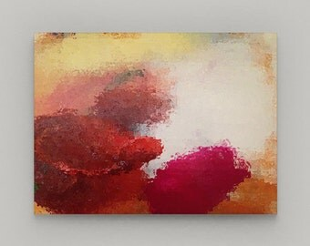 Abstract Wall Art, Canvas Art, Red Yellow Pink White