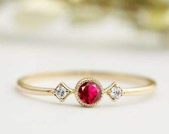 Genuine Ruby engagement ring with diamonds, Unique ruby engagement ring, Dainty vintage ruby ring, 14k 18k gold, rose gold, sta-r103-rub