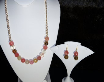 A Lovely Cherry Quartz Necklace and Earrings. (201640)