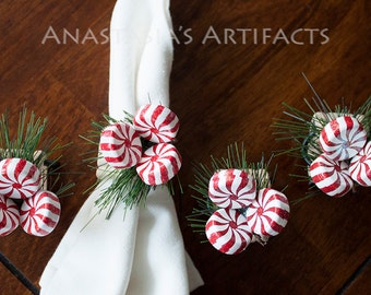 Winter Napkin Ring - Christmas Napkin Ring - Peppermints and Pine, Set of 4
