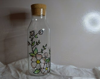 Flowery Hand Painted Glass Vase