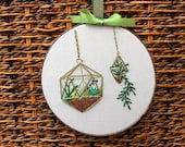 Hanging Succulents Gold Terrarium Hand Embroidered Hoop Art. 6 Inch Succulent Embroidery. Plants Home Decor. Cactus Hanging Planter. Cacti.
