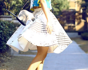 Fine Art Collection white music note petal skirt