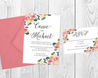 Printable Wedding Invitation Suite / Floral Wedding Invite / Floral Wedding / Flowers / Invitation and RSVP Card / Script Font