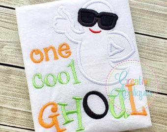 One Cool Ghost Sunglasses Halloween Digital Machine Embroidery Applique Design 4 Size cool ghoul applique, ghost applique halloween applique
