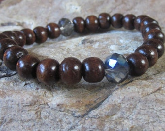 beaded bracelet brown wooden beads bohemian jewelry yoga dark brown wooden beads wood jewelry faceted glass wood beads stretch bracelet