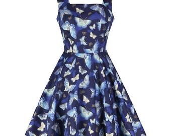 Blue cotton dress, Butterfly dress, Square neck dress, Bridesmaid dress, High waist dress, Retro dress, Custom made dress, Flared dress MS25
