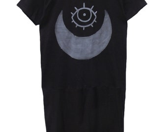 Mooney T-shirt Dress, Handmade in sizes Small to 5xl.