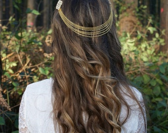 Wedding Headpiece, Gold tone headchain with drapes, Wedding hair accessory, Bohemian Bridal Headpiece.