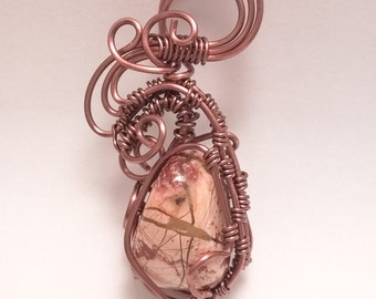 Elegant  copper wire wrapped red jasper pendant