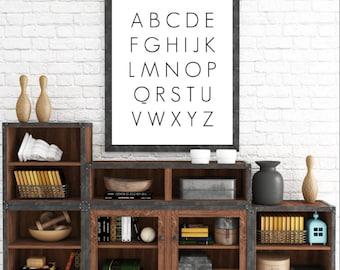 School Room Alphabet, Alphabet Print, Nursery Art, Nursery Decor, Alphabet Nursery Art, Black and White Nursery, Nursery Wall Art, Printable