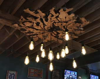 XXL Live-Edge Olive Wood Chandelier Light Fixture with Edison Bulbs. Industrial/Contemporary/Rustic/Earthy/Sculptural 0034*
