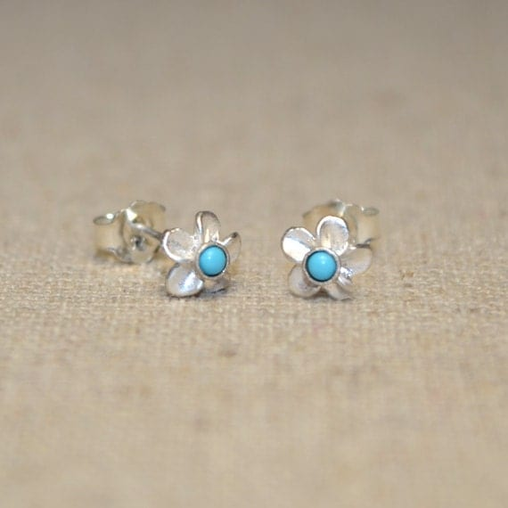 Sterling Silver Stud Earrings - 2mm Turquoise Stud Earring - Silver Earring Studs - 20 Gauge Cartilage Piercing - Helix Piercing