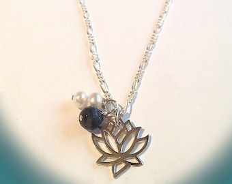 New Beginnings Necklace - Sterling Silver Lotus, Double Pearls, Blue Moon Quartz