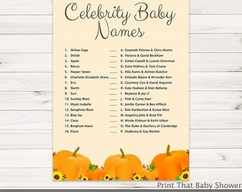 Baby Shower Games - Celebrity Baby Names Game - Pumpkin Baby Shower - Pumpkin Shower Games - Baby Names Game - Pumpkin