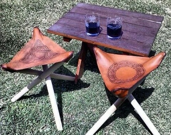 Pair of Custom Leather Tripod Stools