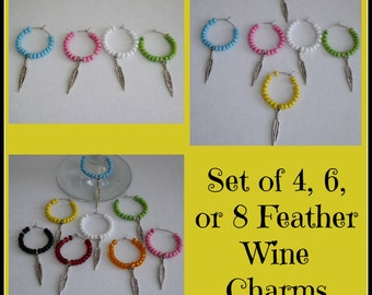Set of 4, 6, or, 8 Feather Wine Charms