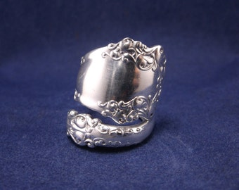 "FREE SHIPPING Silver Spoon Ring- 1897 ""Berkshire""- Vintage Handmade-Spoon Jewelry size 7"