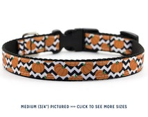 Halloween Dog Collar // Size S-L // Adjustable Length // Pattern: Pumpkin Chevron