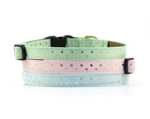 Polka Dot Collar // Cats & Little Dogs // 3/8 inch width // Breakaway or Standard Buckle // Pattern: Gold Dots on Mint, Pink and Blue