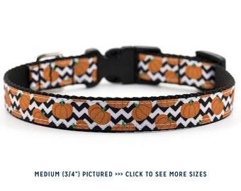 Halloween Dog Collar // Size S-L // Adjustable Length // Pattern: Pumpkin Chevron