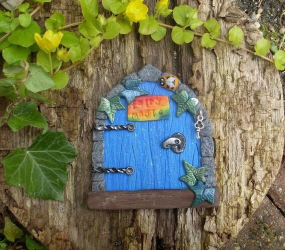 Blue elf door magic fairy door miniature by for Rainbow fairy door