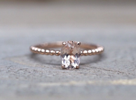 14k Rose Gold Elongated Cushion Cut Pink Peach by ASweetPear