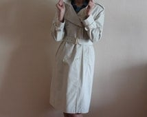 Ivory White Trench Coat  Classic Women Trench Coat Belted Women's Trenchcoat Double Breasted Suit Collar Overcoat Military Style Raincoat
