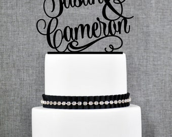 Wedding Cake Toppers with First Names, Unique Personalized Handwritten Toppers, Elegant Custom Script Wedding Cake Toppers - (T205)