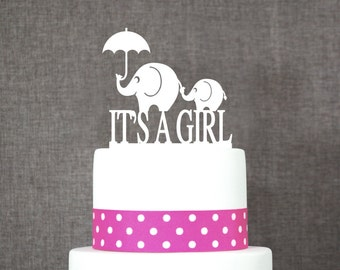 It's A Girl Elephant Cake Topper, Cute Cake Topper, Charming Cake Topper, Baby Shower Cake Topper, Gender Reveal Topper (T043)