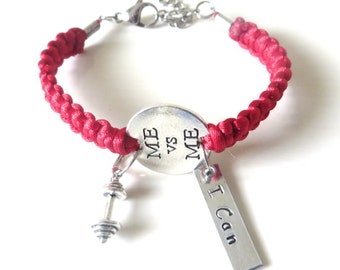 Me Vs Me I Can Workout Weight Lifting Bodybuilding Barbell Charm Bracelet You Choose Your Cord Color(s)