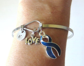 Blue LOVE HOPE Customizable Awareness Ribbon Charm Stainless Steel Bangle Bracelet With Optional Love Hope and Letter Charm