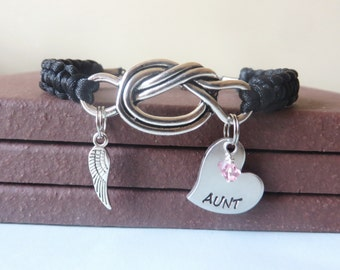 AUNT Memorial Angel Wing Crystal Birthstone Hand Stamped Love Knot Bracelet You Choose Your Birthstone Charm and Cord Color(s)