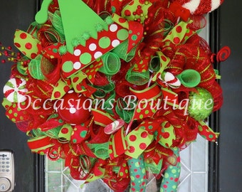 Christmas Elf Wreath, Holiday Wreath, Door Hanger, Christmas Decoration, Front door wreath, Large Wreath