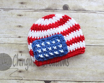 4th of July Hat Crochet baby boy girl patriotic hat, 4th of July baby hat, red, white and blue American flag hat 4th of July baby hat