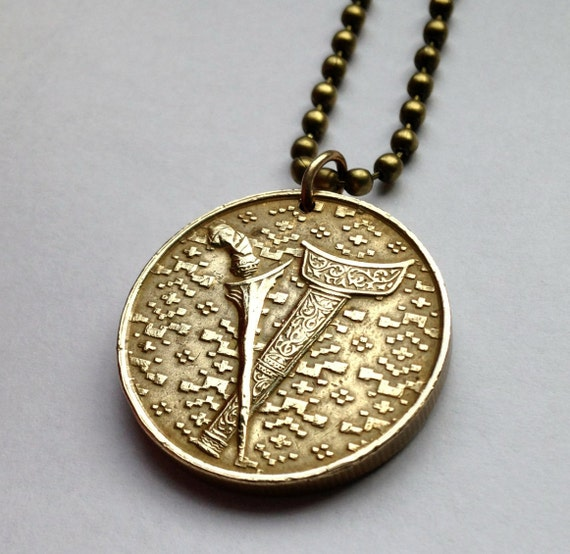 1995 Malaysia 1 Ringgit Coin Pendant Necklace Sword Keris Kris